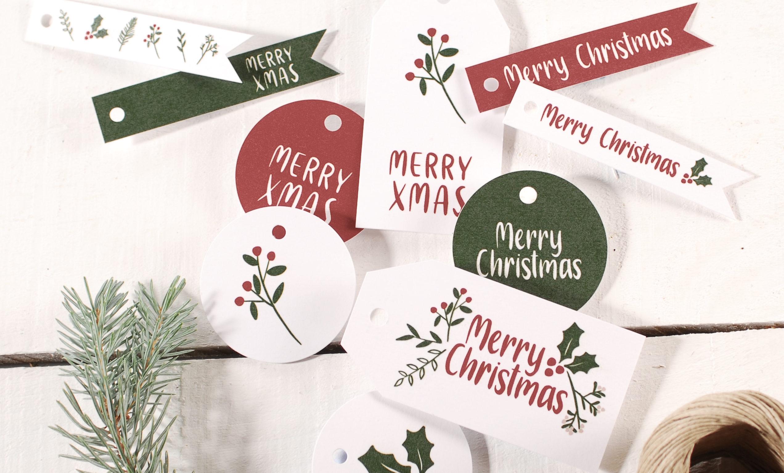 Las etiquetas de navidad,