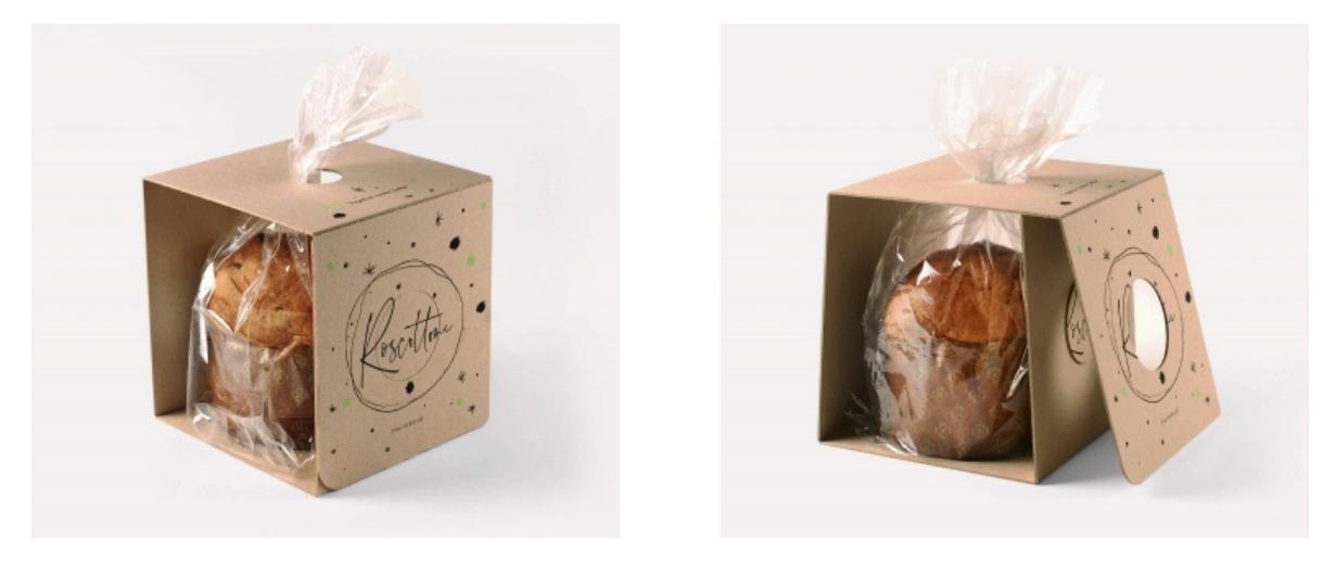 caja para pastel en carton gris